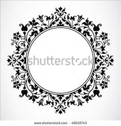 Detailed circular floral frame or border. Easy to scale to any size.
