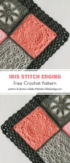 Crochet Border Patterns, Crochet Boarders, Crochet Designs, Knitting Patterns, Crochet Quilt Pattern, Crochet Blanket Border, Crochet Squares Afghan, Crochet Trim, Knit Or Crochet