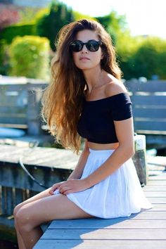 Perfect Casual Crop top and skater skirt Summer Look Casual style.