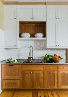 kitchen with wood lowers + white uppers. kitchen designed by K Marshall Design