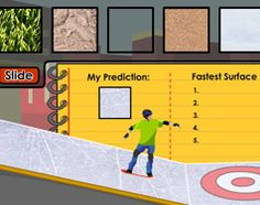 Web friction investigation gives students chance to test multiple materials and explore their properties to determine which surface gets the skateboarder to the target fastest (and therefore has the least amount of friction!)