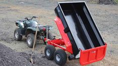 Northern Irish manufacturer Quad-X has revealed a new commercial-spec mini dump trailer designed to be pulled by an ATV or small tractor. A hydraulically Atv Dump Trailer, Atv Utility Trailer, Quad Trailer, Trailer Plans, Trailer Build, Lawn Tractor Trailer, Accessoires Quad, Utv Trailers, Atv Implements