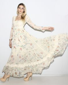 vintage 60's floral hippie wedding dress that i would wear around normally.