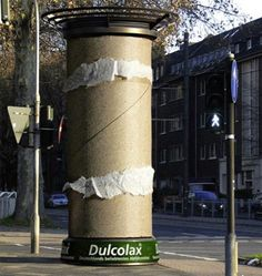 Dulcolax Column Advertisement  Ordinary advertising columns were turned into giant toilet paper rolls in Dusseldorf, Germany