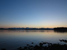 Dawn over the mainland mountains from Heriot Bay Quadra Island