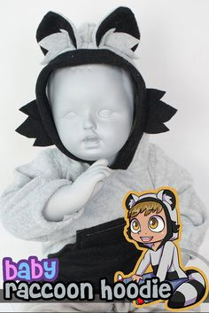 BABY & TODDLER Raccoon Hoodie 3 Month to 18 Month by lemonbrat, $46.99