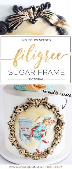 Free tutorial! No-molds needed fondant filigree rococo gold frame! This would be perfect for any painted portrait! Only on Avalon Cakes School of Sugar Art!