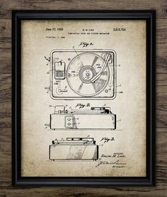 Record Player Patent Print 1950 Record Player by InstantGraphics
