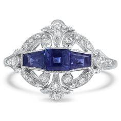 Vintage Sapphire Edwardian Engagement Ring - Roues