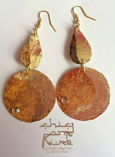 paper earrings. texture, gold leaf,brillant,