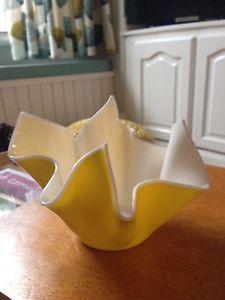 1950s fun yellow handkerchief vase