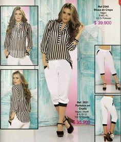 Blusa a Rayas y Pantalon / Moda Ryocco 2015-1