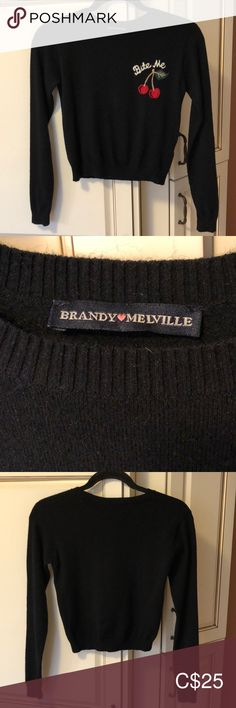 "BRANDY MELVILLE Black BITE ME Cropped Sweater In great condition, black with cherries and ""Bite Me"" on front. Long sleeve and cropped. One size with a good amount of stretch.  53% Viscose/47% Polyamide. Measurements laying flat, unstretched, chest across at underarms is 15.5"" and length down center back is 17"". Brandy Melville Sweaters Crew & Scoop Necks Brandy Melville Sweaters, Plus Fashion, Fashion Tips, Fashion Trends, Cherries, Cropped Sweater, Underarm, Scoop Neck, Sweaters For Women"