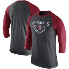 6484b1d52e369e St. Louis Cardinals Nike Tri-Blend 3 4-Sleeve Raglan T-Shirt – Heathered  Charcoal