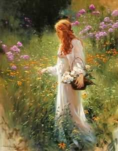 free-shipping-impression-girl-wild-flowers-scenery-canvas-prints-oil-painting-pr … During the d. Classic Paintings, Beautiful Paintings, Woman Painting, Painting & Drawing, Painting Prints, Images Esthétiques, Painted Ladies, Classical Art, Fine Art