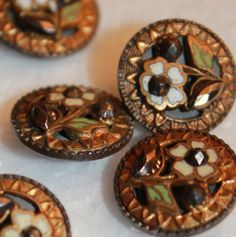 French enamel buttons. Fancy Buttons, Vintage Buttons, Button Art, Button Crafts, Celtic, Baubles And Beads, Vintage Sewing, Vintage Clothing, Sewing A Button