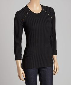 Loving this Black Studded-Shoulder Sweater on #zulily! #zulilyfinds