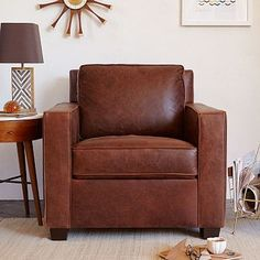 West Elm - Henry Leather Armchair -- idea for accent chair