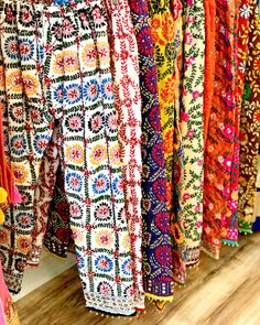 Buy hand embroidered phulkari pants online in USA. We provide fully-stitched and ready to ship phulkari trousers and lehengas with ghungroo attached. Pakistani Fashion Party Wear, Pakistani Outfits, Indian Outfits, Girls Dresses Sewing, Girls Dress Up, Phulkari Pants, Dress Indian Style, Indian Dresses, Kurti Embroidery Design