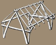 English Cruck Frame. A traditional wooden building.