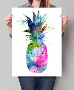 Pineapple Watercolor Print Pineapple Decor by FineArtCenter