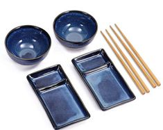 Urban Lifestyle Misaki Navy Blue Sushi Set for Two - 2 Sushi Plates, 2 Ceramic Bowls, 2 Pairs of Bamboo Chopsticks Ceramic Tableware, Glass Ceramic, Ceramic Bowls, Japanese Ramen Bowls, Japanese Soup, Sushi Plate, Sushi Bowl, Sushi Sushi, Sushi Set