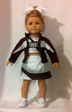 Intensity Cheer Elite American Girl Doll Cheer by AnniquesNook My Life Doll Clothes, Baby Doll Clothes, All American Girl Dolls, Dolly Doll, Cheer Uniforms, America Girl, Doll Food, Cheer Bows, Ag Dolls
