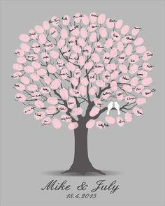 Wedding Guest Book, Guest Book Tree, Printable Jpeg, Alternate Guestbook, Digital Fingerprint Tree, Thumbprint Spring Tree, Customizable
