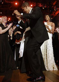Barack dancing as Michelle watches...  Inauguration Day 2009