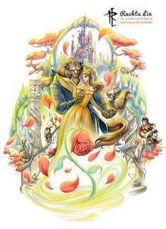 Just recently rewatched the Disney animation and the live action movie! One of my fav Disney movie of all time What's yours? Beauty and The Beast : Belle and Beast Beauty And The Beast Wallpaper, Beauty And The Beast Art, Disney Princess Art, Disney Fan Art, Disney Pics, Punk Princess, Belle And Beast, Princess Drawings, Princess Tattoo