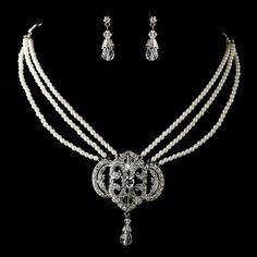 Vintage Look Triple Strand Ivory Pearl Wedding Jewelry Set
