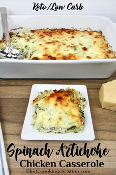 Spinach Artichoke Chicken Casserole – Keto and Low Carb A popular dip turned int… Spinach Artichoke Chicken Casserole – Keto and Low Carb A popular dip turned into a delicious Keto-friendly casserole and baking with gooey mozzarella cheese on top! Low Carb Dinner Recipes, Diet Recipes, Cooking Recipes, Dessert Recipes, Flour Recipes, Breakfast Recipes, Keto Dinner, Easy Recipes, Healthy Low Carb Dinners