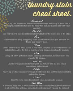 Laundry Stain Removal Guide #Clean #DIY #Tips http://www.woodard247.com/2014/05/laundry-stain-cheat-sheet/