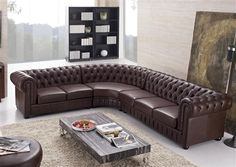 Aberdeen Tufted Leather Sectional   brown furniture leather