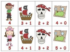 Math Match - Addition Sentences - Pirate