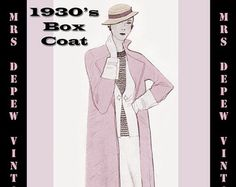 Vintage Sewing Pattern 1930's Box Coat in Any Size- PLUS Size Included- a-1014 Draft at Home Pattern -INSTANT DOWNLOAD-