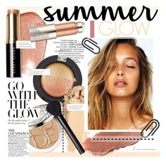 """""""Golden Goddess: Summer Glow"""" by kusja ❤ liked on Polyvore featuring beauty, Christian Dior, Bobbi Brown Cosmetics, Topshop, Kjaer Weis, BHCosmetics, NARS Cosmetics, Estée Lauder, Summer and Beauty"""