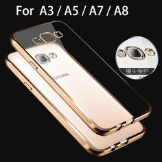 2015 luxury case for samsung galaxy A3 A5 A7 A8 A 3 5 7 8 by rose gold tpu transparent ultra slim clear soft cover cases covers [Affiliate]