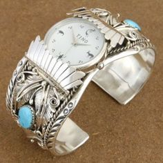 Native American Navajo Indian Big Boy Turquoise Jewelry Coral Sterling Silver Mens Cuff Watch Bracelet by Verna Blackgoat  | Alltribes