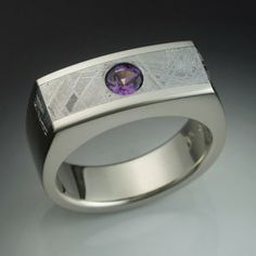 Mans Ring With Alexandrite And Meteorite by John Biagiotti