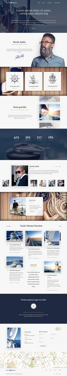 Really like this nautical Wordpress theme! The format of the team section strikes me as particularly well thought out. Great use of space.