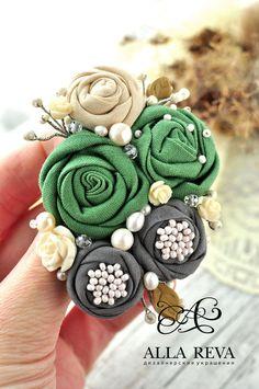 """Купить Брошь """"Ранняя весна"""" - комбинированный, зеленый, кремовый, серый, брошь цветок, цветы из ткани"""