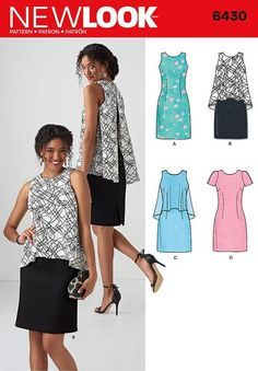 NEW LOOK SEWING PATTERN MISSES DRESS IN 2 LENGHTS SIZE 10 - 22 6430