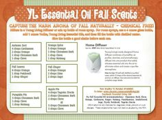 Young Living Essential Oils: Fall Fragrance Recipes   Anyone interested in purchasing the oils or learning more can email me at siegel_m@bellsouth.net. I would be more than happy to help!  Or check out the products and order at   https://www.youngliving.com/signup/?site=US=1483454=1483454 Or check out their main website at www.youngliving.com