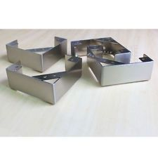 4 Pc L Shape Stainless Steel Legs Furniture Sofa Cabinet Metal Feet 2