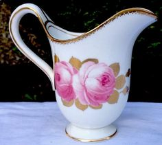 George Jones Creamer - hand painted Pink Roses and gilt decorations
