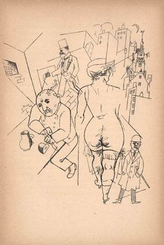 by George Grosz (German Alphonse Mucha, Pablo Picasso, George Grosz, Artist Sketchbook, Expressions, Art Archive, Art Abstrait, Collage, Line Drawing