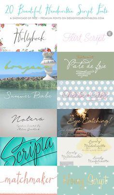 20 Beautiful Handwritten Script Fonts - Design Your Own (lovely) Blog