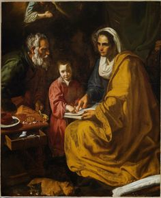 spanishbaroqueart: Attributed to Diego Velázquez The Education of the Virgin, ca. 1617-18 The Yale University Art Gallery Donated to the museum in 1925, The Education of the Virgin—depicting Saint Anne teaching a young Virgin Mary to read—was long considered to be a work by an unknown Spanish artist. Considerably damaged, the painting was relegated to storage and never carefully studied until 2005, when John Marciari reattributed the work to Diego Velázquez (1599–1660), the most…