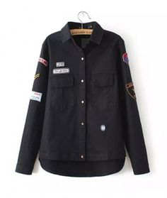 AUTUMN NEW FASHION WOMEN'S TURN DOWN COLLAR BADGES EMBROIDERY DOUBLE  POCKETS LONG SLEEVE HANDSOME BLACK SHIRT